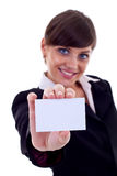 Business woman with card Royalty Free Stock Photography
