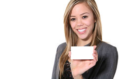 Business Woman with Card Royalty Free Stock Image