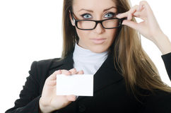 The business woman with the card Stock Photo