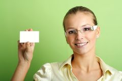 Business woman with a card Stock Photo