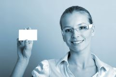 Business woman with a card Royalty Free Stock Photos
