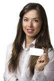 Business woman with a card Royalty Free Stock Images