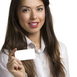 Business woman with a card Stock Images