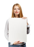 Business woman with card on white background Royalty Free Stock Images