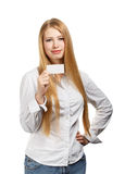 Business woman with card on white background Stock Photos