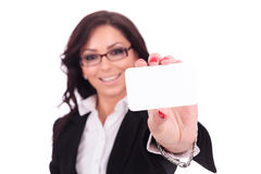 Business woman with card Royalty Free Stock Photo
