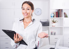 Business woman cardboard Royalty Free Stock Photography