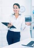 Business woman cardboard Stock Photo