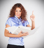 Business woman carefully study the contract Royalty Free Stock Image