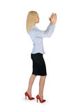 Business woman carry something. Isolated business woman carry something Stock Image