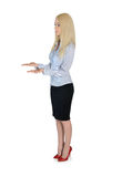 Business woman carry something. Isolated business woman carry something Royalty Free Stock Images