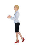 Business woman carry something. Isolated business woman carry something Royalty Free Stock Image