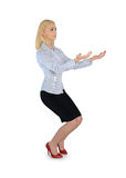 Business woman carry something. Isolated business woman carry something Royalty Free Stock Photos