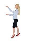 Business woman carry something. Isolated business woman carry something Stock Images