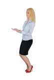 Business woman carry something. Isolated business woman carry something Royalty Free Stock Photo