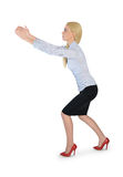 Business woman carry something. Isolated business woman carry something Stock Photos