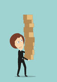 Business woman carrying a giant pile of boxes Stock Images