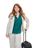 Business woman carrying luggage Stock Images