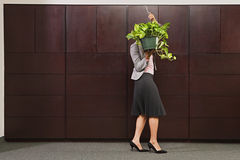 Business woman carrying plant Stock Photography