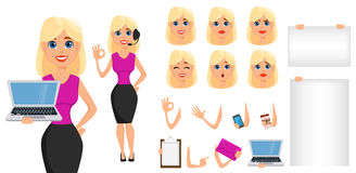 Business woman cartoon character creation set. Cute blonde busin. Esswoman in smart casual clothes. Build your personal design - stock vector stock illustration