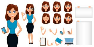 Business woman cartoon character creation set. Cute brunette bus Royalty Free Stock Photo