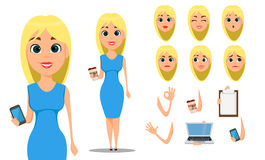 Business woman cartoon character creation set. Young attractive businesswoman in fashionable blue dress. Royalty Free Stock Images
