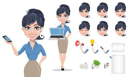 Business woman cartoon character creation set Stock Photo