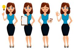 Business woman cartoon character. Cute brunette businesswoman se Stock Images