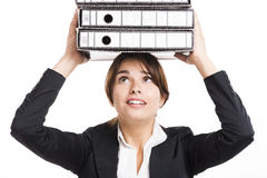Business woman carying folders Stock Image