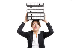 Business woman carying folders Stock Photography