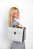 Business woman with case Royalty Free Stock Photo