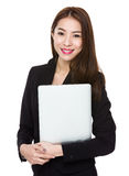 Business woman casual holding laptop computer Royalty Free Stock Photography
