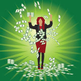 Business woman catches money Royalty Free Stock Photography
