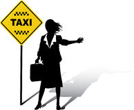 Business woman catches Taxi stock illustration