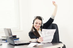 Business woman celebrate success Stock Photos
