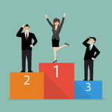 Business woman celebrates on winning podium next to her business. Rivals. Business concept Royalty Free Stock Photos