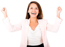 Business woman celebrating Stock Photography