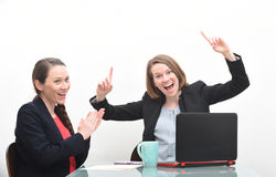 Business woman celebrating in meeting Stock Images