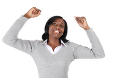Business woman celebrating success royalty free stock photo