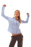 Business woman celebrating success Stock Photography