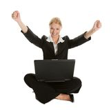 Business woman celebrating success Stock Photos