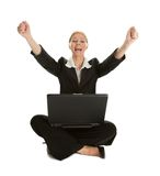 Business woman celebrating success. Business woman raising arms and shouting to celebrate success. Isolated on white Stock Photo