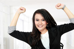 Business woman celebrating success Royalty Free Stock Images
