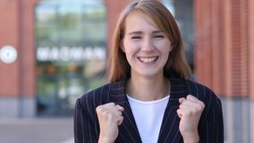Business Woman Celebrating Success Gesture in Offcie. 4k , high quality stock footage