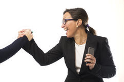Business Woman Celebrating Royalty Free Stock Photos