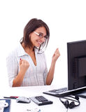 Business woman celebrating victory Stock Photography