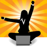 Business woman celebration laptop computer success Stock Photo
