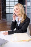 Business Woman on cell at desk. In modern office Stock Images
