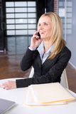 Business Woman on cell at desk Stock Photos