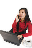 Business woman on cell phone. Over white Stock Photo